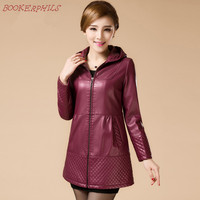 Women Long Leather Jackets Ladies Elegant Hooded Slim Pu Leather Trench Coat Female Outerwear Plus Size