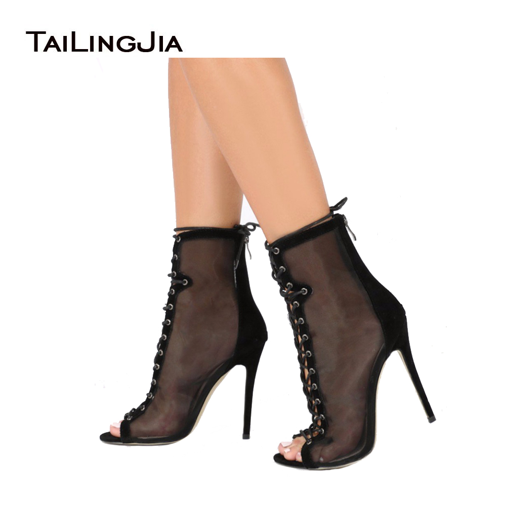 TAILINGJIA Women High Heel Mesh Shoes Peep Toe Ankle Boots Grey Ladies Booties Lace Up Black Summer Heels Sexy See-Through shoes trendy see through off the shoulder long sleeve lace blouse for women