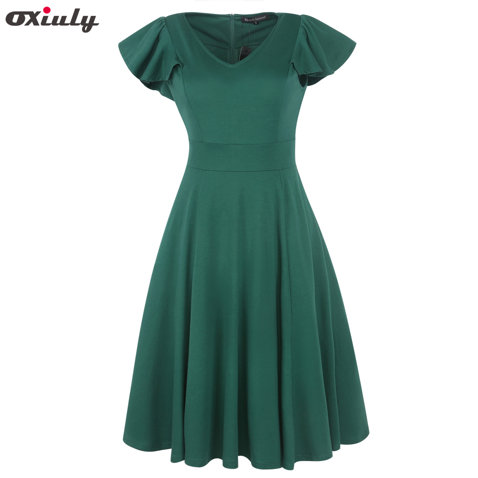 Oxiuly Ruffle Sleeve Plain Dress Women V Neck Vintage Party Wear To Work Office Party Fitted Skater A-Line Swing Dress