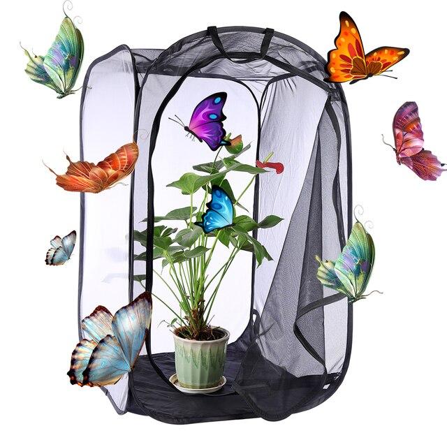 1 шт Бабочка и насекомых среды обитания клетки сетки Террариум бабочка Богомол, Палочник молитвы цилиндрический всплывающее окно клетка 3 размера-черный