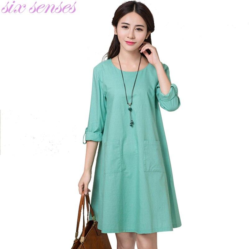 New Fashion Cotton Dress Linen Autumn Dress Clothing Vestidos Vintage Long Sleeve Women 39 S Loose