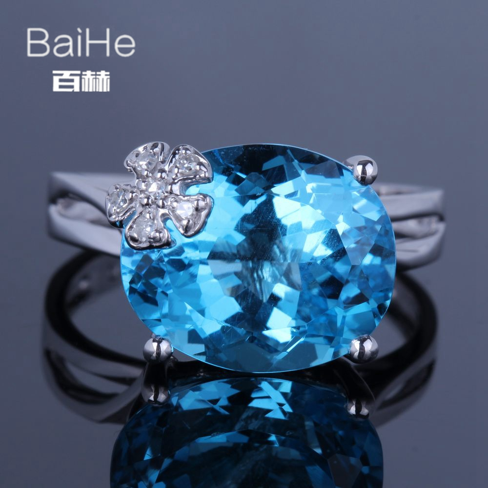 BAIHE Solid 14K White Gold(AU585) 7.9CT Certified Oval Natural Dark Blue Topaz Flawless Wedding Women Trendy Fine Jewely Ring BAIHE Solid 14K White Gold(AU585) 7.9CT Certified Oval Natural Dark Blue Topaz Flawless Wedding Women Trendy Fine Jewely Ring