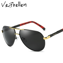 VeBrellen Polarized Sunglasses Men Brand HD Polaroid Lens Reflective Coating Driving Sunglasses Vintage Male Pilot Eyewear VJ082