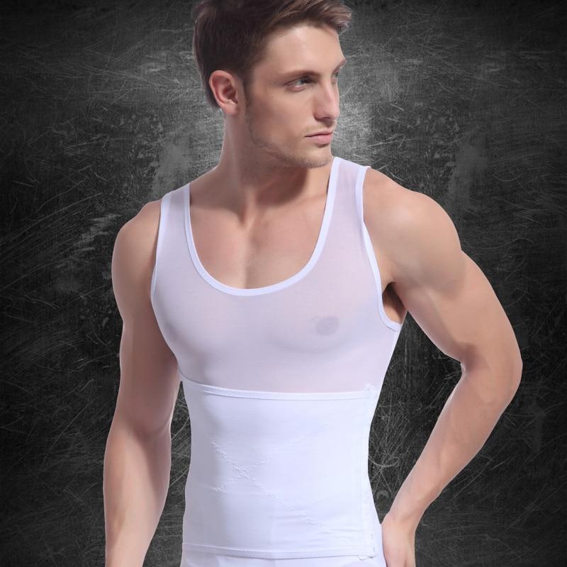 32cac0be9de37 Men s Slim Body Shaper Belly Waist Girdle Shirt Black White Shapewear  Underwear Girdle Shapers Sleeveless Hot Male Body Cincher-in Shapers from  Underwear ...