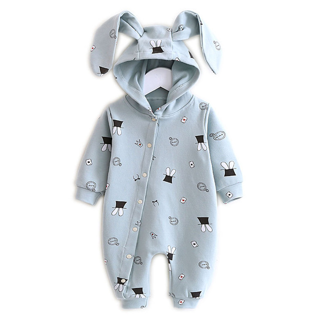 New Baby Hooded Onesies 2019 Rabbit Ears Spring Baby Hooded Boys Girls Clambing Ears Outing Clothes Single Layer Cotton Set