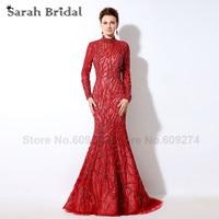 High Neck Muslim Evening Dress Designer 2016 Luxurious Rhinestone Mermaid Vestidos De Fiesta Evening Gown Long