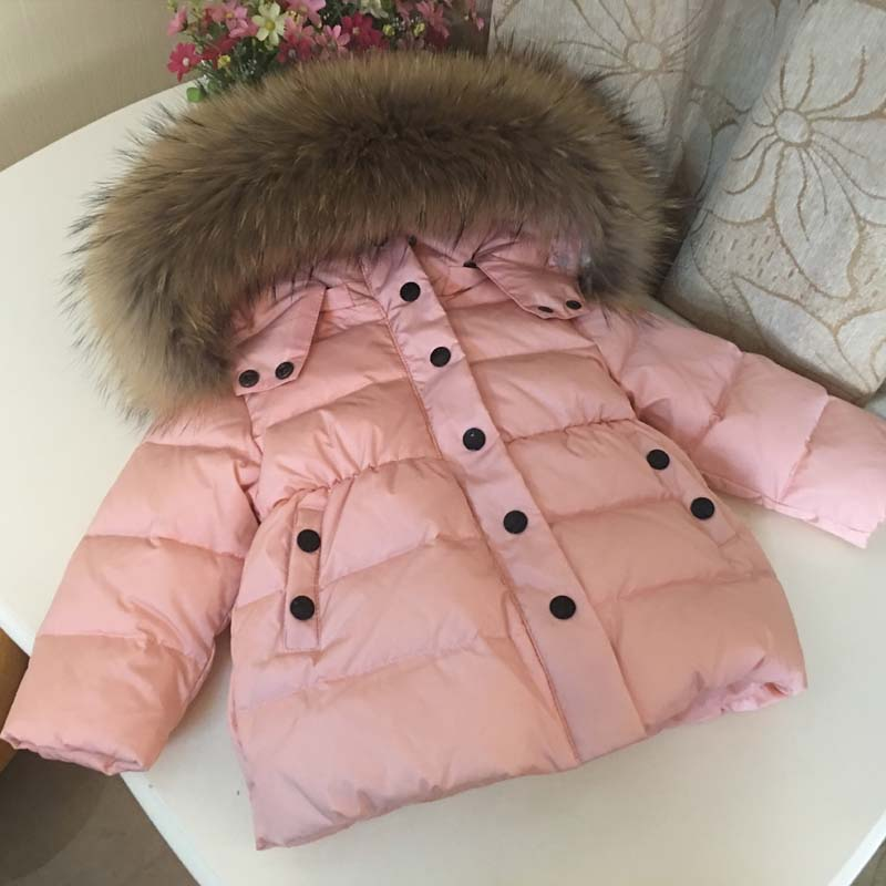 цены на 2017 Children Winter Down Jacket for Girls Boys Kids Duck Down Jacket Coat Big Fur Hooded Warm Parka Kids Down & Parkas в интернет-магазинах