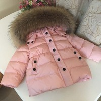 2019 Children Winter Down Jacket for Girls Boys Kids Duck Down Jacket Coat Big Fur Hooded Warm Parka Kids Down & Parkas