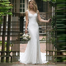 2019 Elegant Lace Mermaid Wedding Dress Sleeveless Hollow Backless Bridal Dresses For Ceremony vestido de festa longo