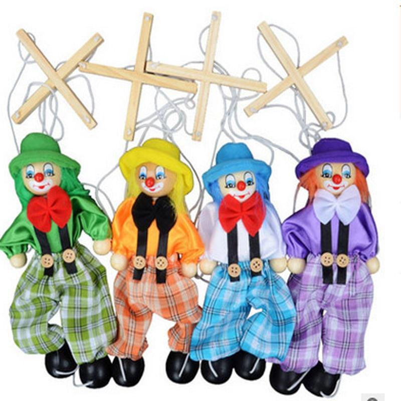 4pcs / lot безкоштовна доставка дитячий дерев'яний клоун маріонетка іграшки діти різдвяні подарунки / розповісти тінь ляльковий плюшеві ляльки