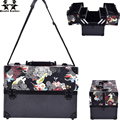 wenjie brother big size skull flower ABS&PU Make up Box Makeup Case Beauty Case Cosmetic Bag Multi Tiers Lockable Jewelry Box