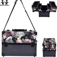 Wenjie bruder große größe schädel blume ABS & PU bilden Box make-up Fall Beauty Kosmetiktasche Multi Tiers Abschließbare Schmuck Box