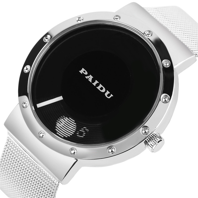 PAIDU Top Brand Black/White Turntable Creative Dial Design Quartz Watches With Mesh Stainless Steel Band For Men Women relojes