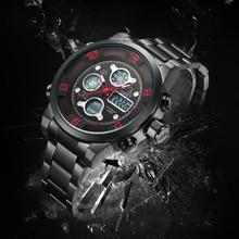 AMST Mens Watches Quartz Multi-function Dual Display Movement Men Watch Stainless Steel Luxury Waterproof inox reloj