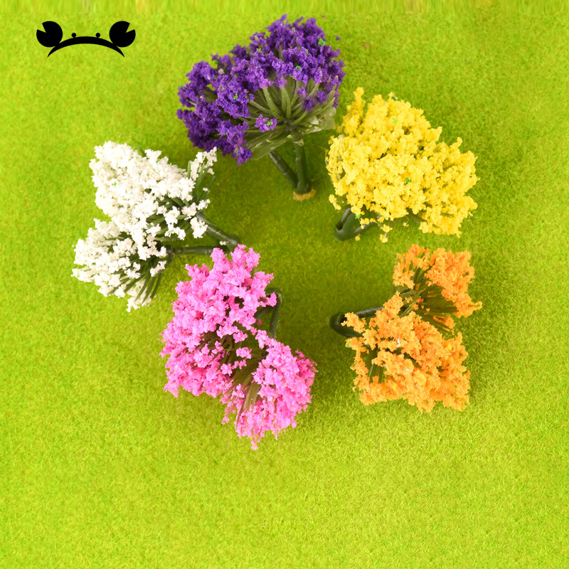 50pcs/lot 3cm Model Trees Landscape Scenery Train Model Tree 5 Color Flower For Railroad Scenery