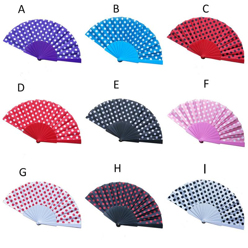 9 Colors Elegant Plastic Spanish Hand Fan Japanese Polka Dots Folding Wind Fans Wedding Party Event Gifts Supplies