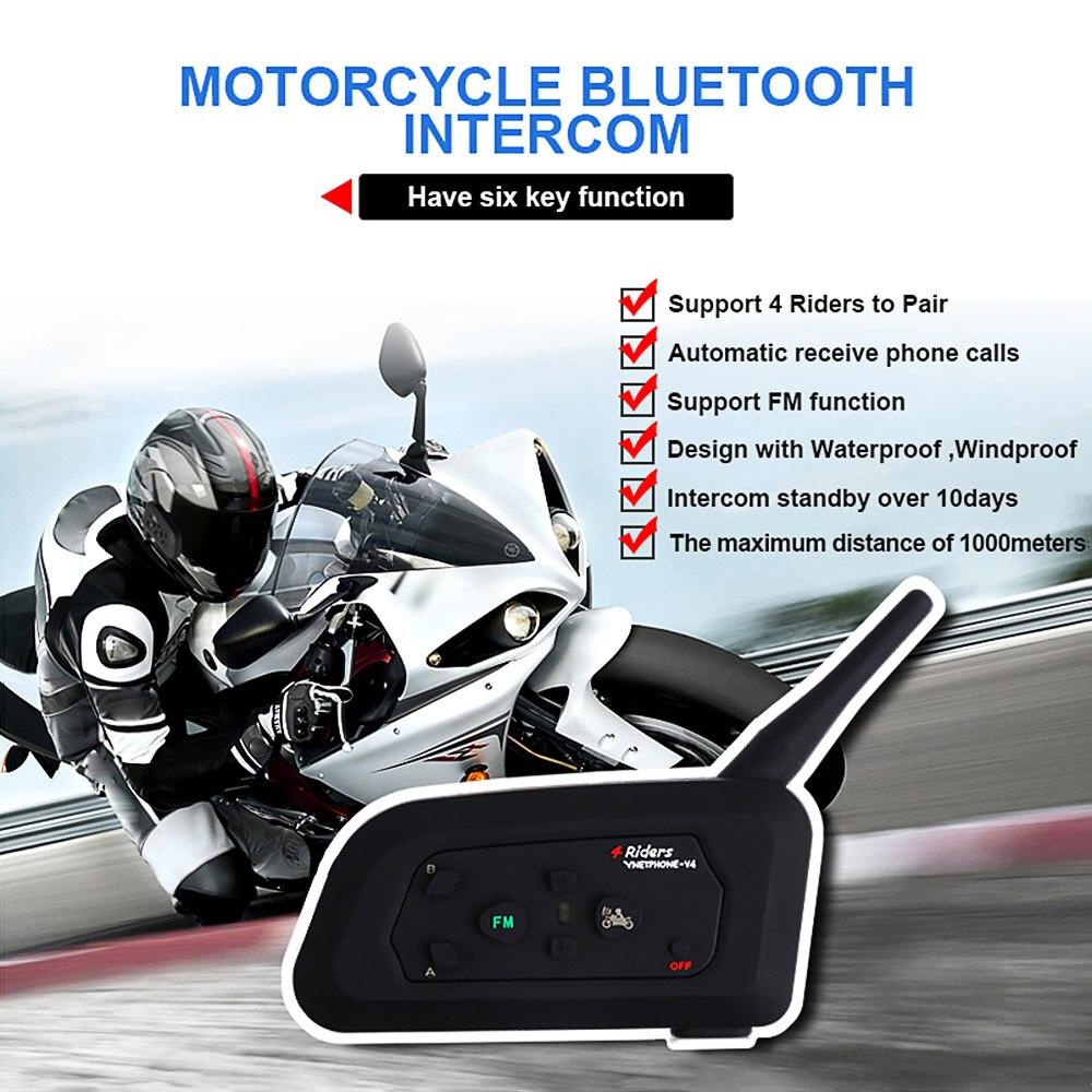 Vnetphone V4 Moto Casque Interphone Casque 1200 m 4 Coureurs Moto BT Interphone Avec FM Radio (Unique)
