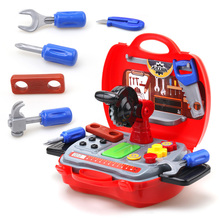 Construction Tools Toy Set for Baby Boy Plastic Chainsaw Screws Hammer Pretend Play Kids Suitcase Garden Carpentry Tool Box цена