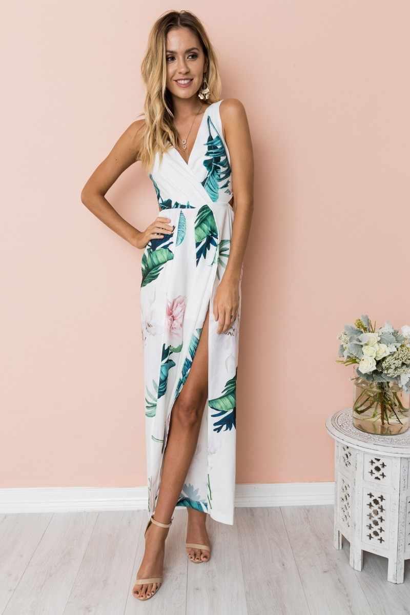 06d63f1d76d20 AVODOVAMA M Hot Sexy V-neck Floral Print Jumpsuit Strapless High Waist  Split Wide Leg Summer Pants 2018