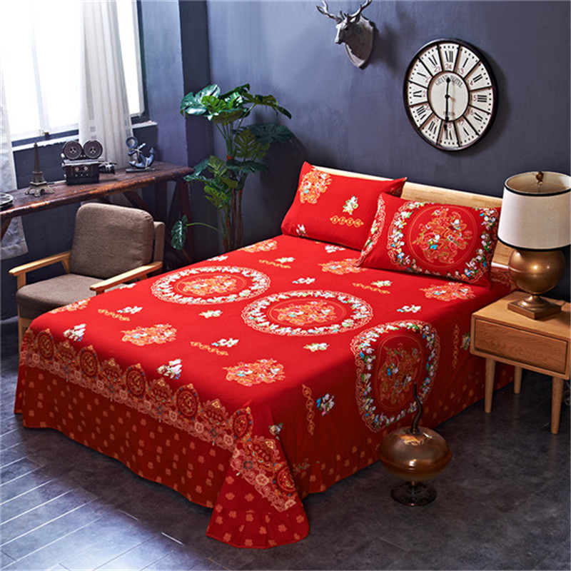 Modern Fashion Printting Pattern Comfortable And Breathable 1pcs Bed Sheets And 2pcs Pillowcases 100% Cotton Bedding Sets