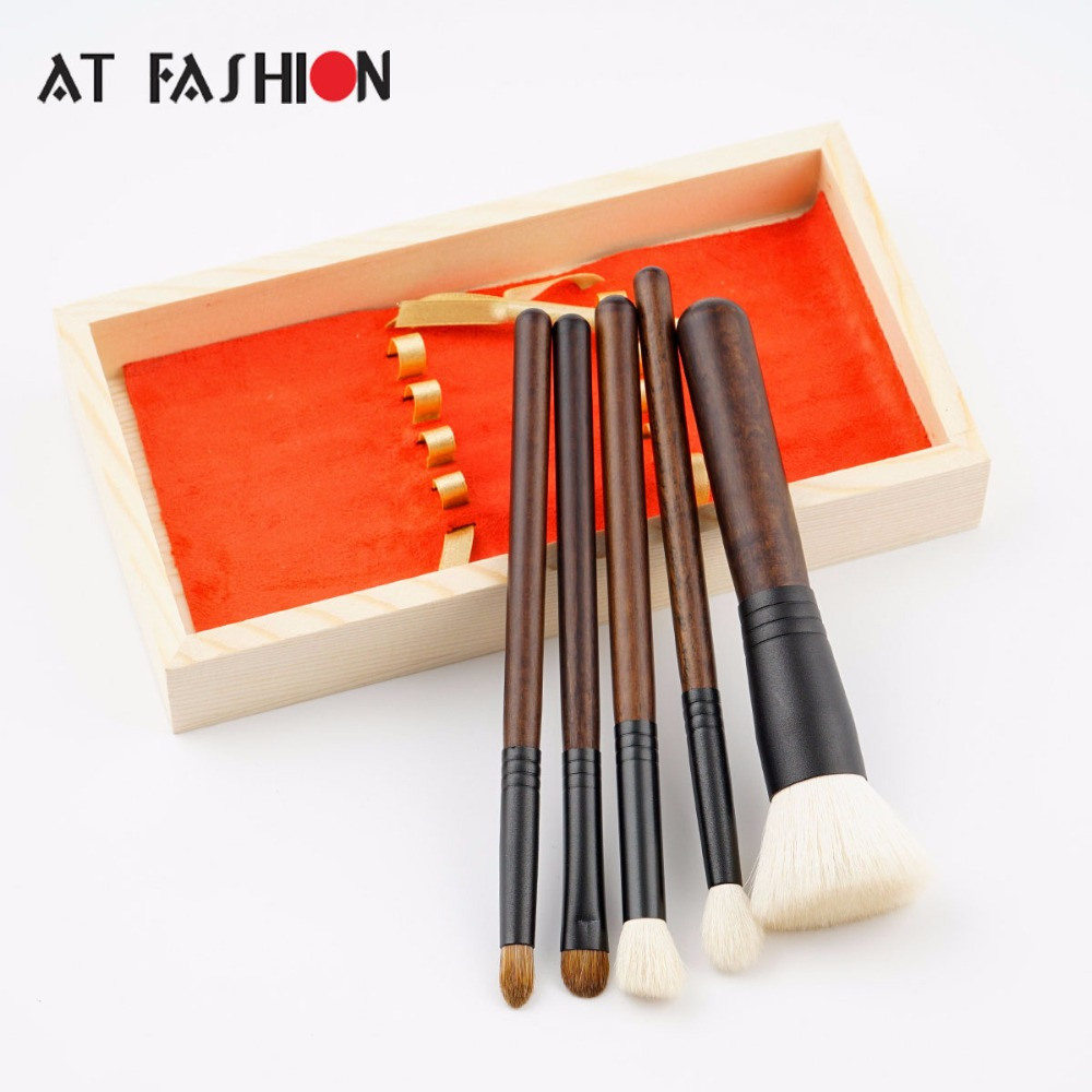 AT FASHION New High Quality 5pcs Goat Hair Makeup Brush Kit Professional High-End Wool Makeup Brushes Tool Set with Wooden Box 5 pcs blue hot high quality professional makeup brush set makeup kit for face care free ship