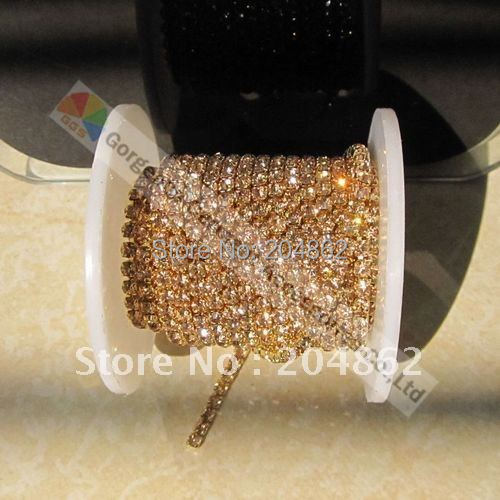 10yards Close Dense Set crystal rhinestone cup chain SS6 8 12 SS16 4mm  Light Colorado Topaz stones in Gold for DIY jewelries b286145ab18a
