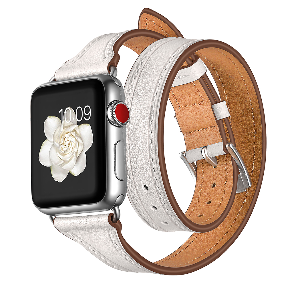 EIMO Loop Strap For Apple watch band 42mm 38mm Series 4 3 2 1 Genuine Leather Double Tour Wrist bands Bracelet iWatch Watchband for apple watch band leather watchband for iwatch bands 42mm 38mm series 3 2 1 butterfly buckle bracelet strap wrist accessories