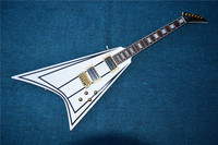 New high quality V electric guitar, white ring black edge, free delivery.