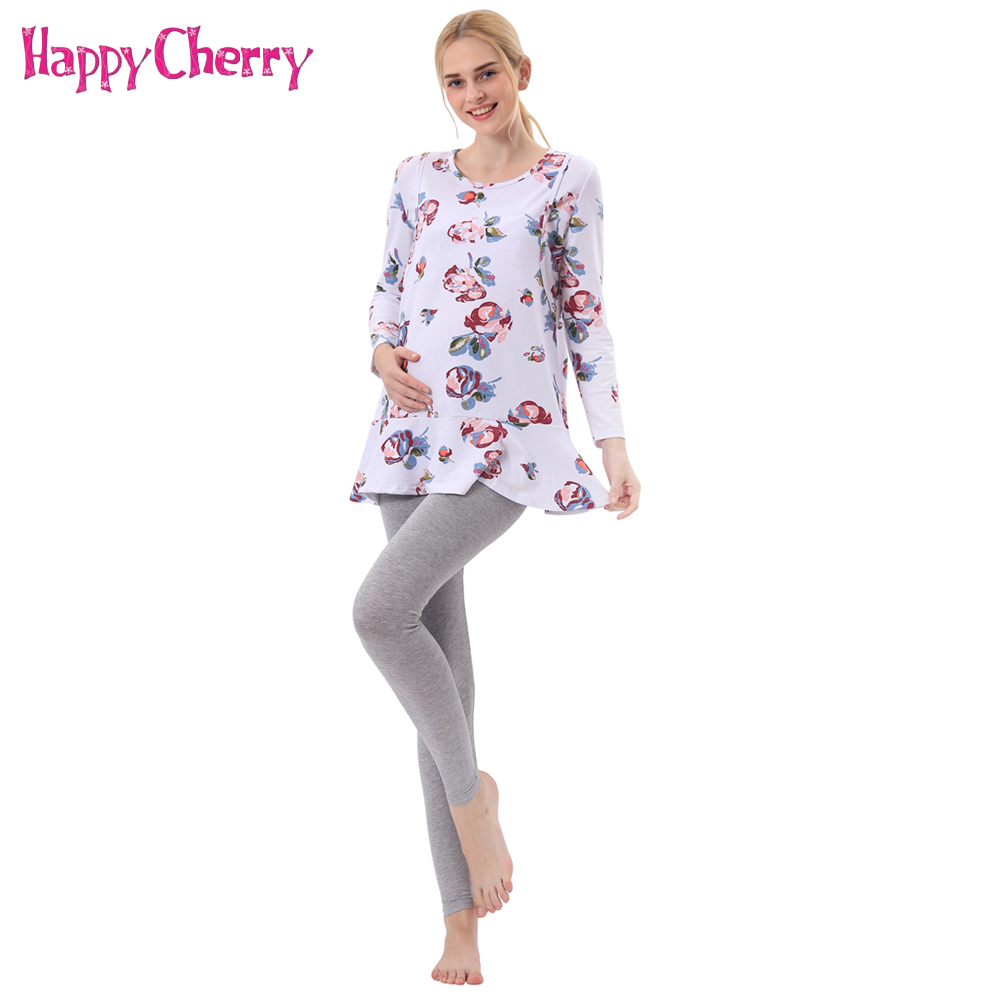 Maternity 100% Cotton Breastfeeding Clothing Nursing Sets Floral Printed Tops Clothes Adjustable Pants for Pregnant Women Gifts
