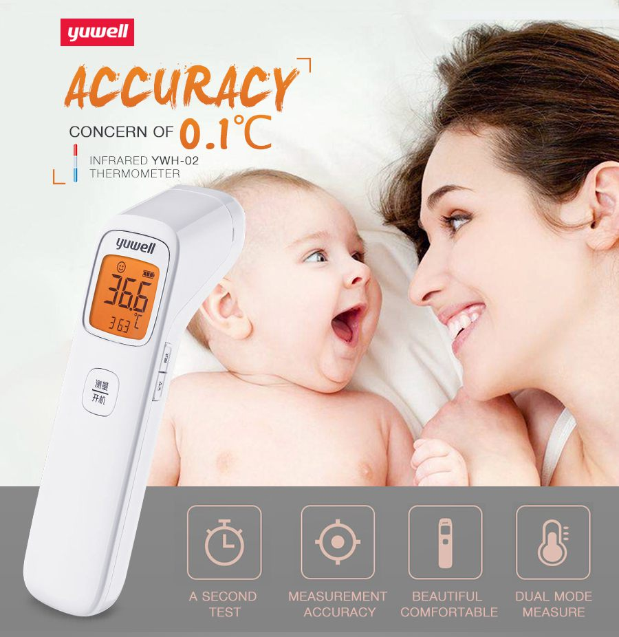 Yuwell Baby Digital Noncontact Infrared Forehead Thermometer Infrared Hydrothermograph Children Body Hermograph Accurate YHW-2-6