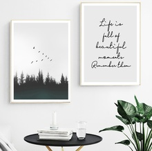 Forest Bird Life Quotes Wall Art Canvas Painting Nordic Posters And Prints Pictures For Living Room Decor