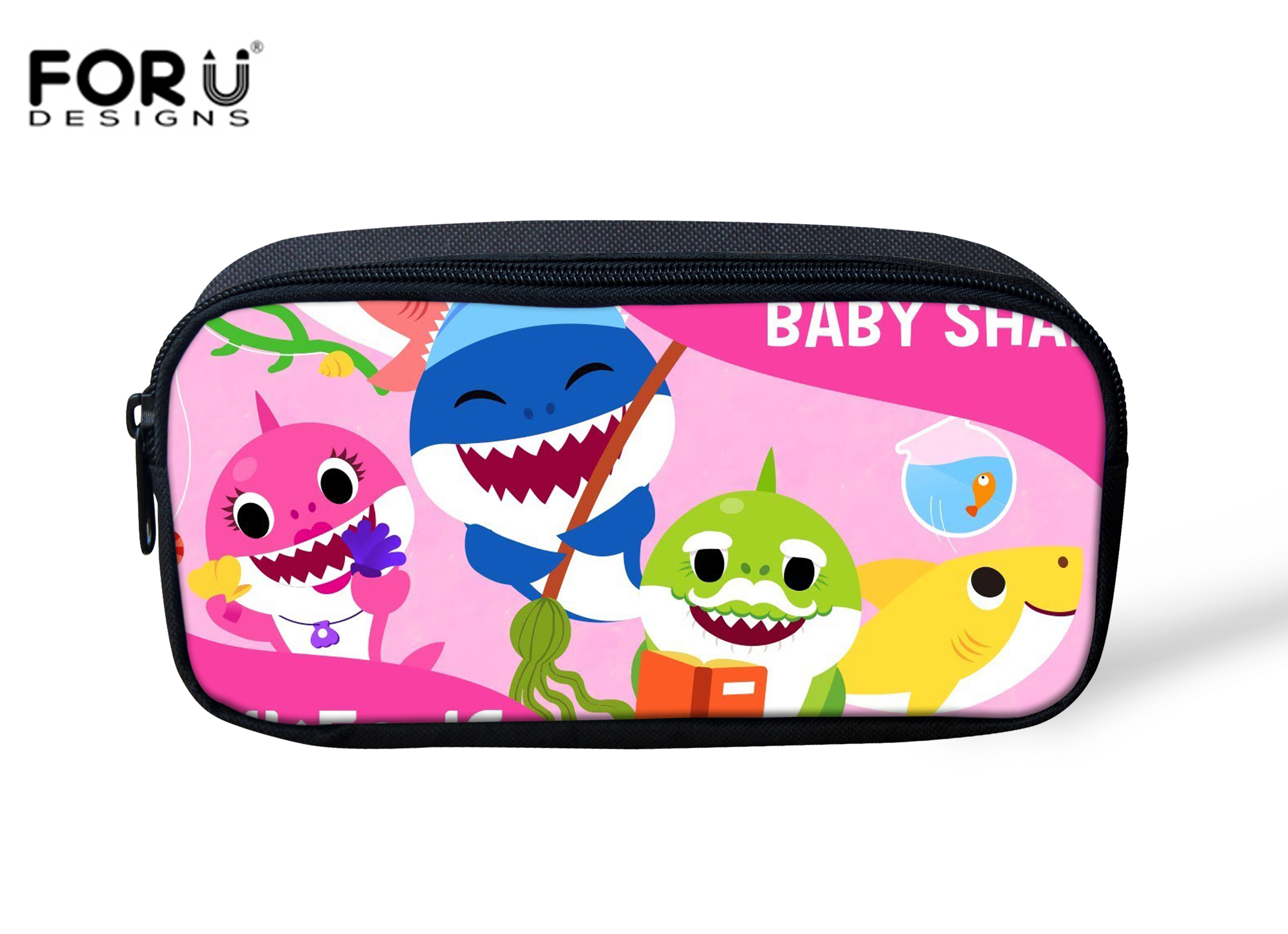 FORUDESIGNS Female Makeup Bags 3D PinkFong Shark Print Women Travel Toiletry Pencil Makeup Case Storage Pouch Cosmetic Bag Purse