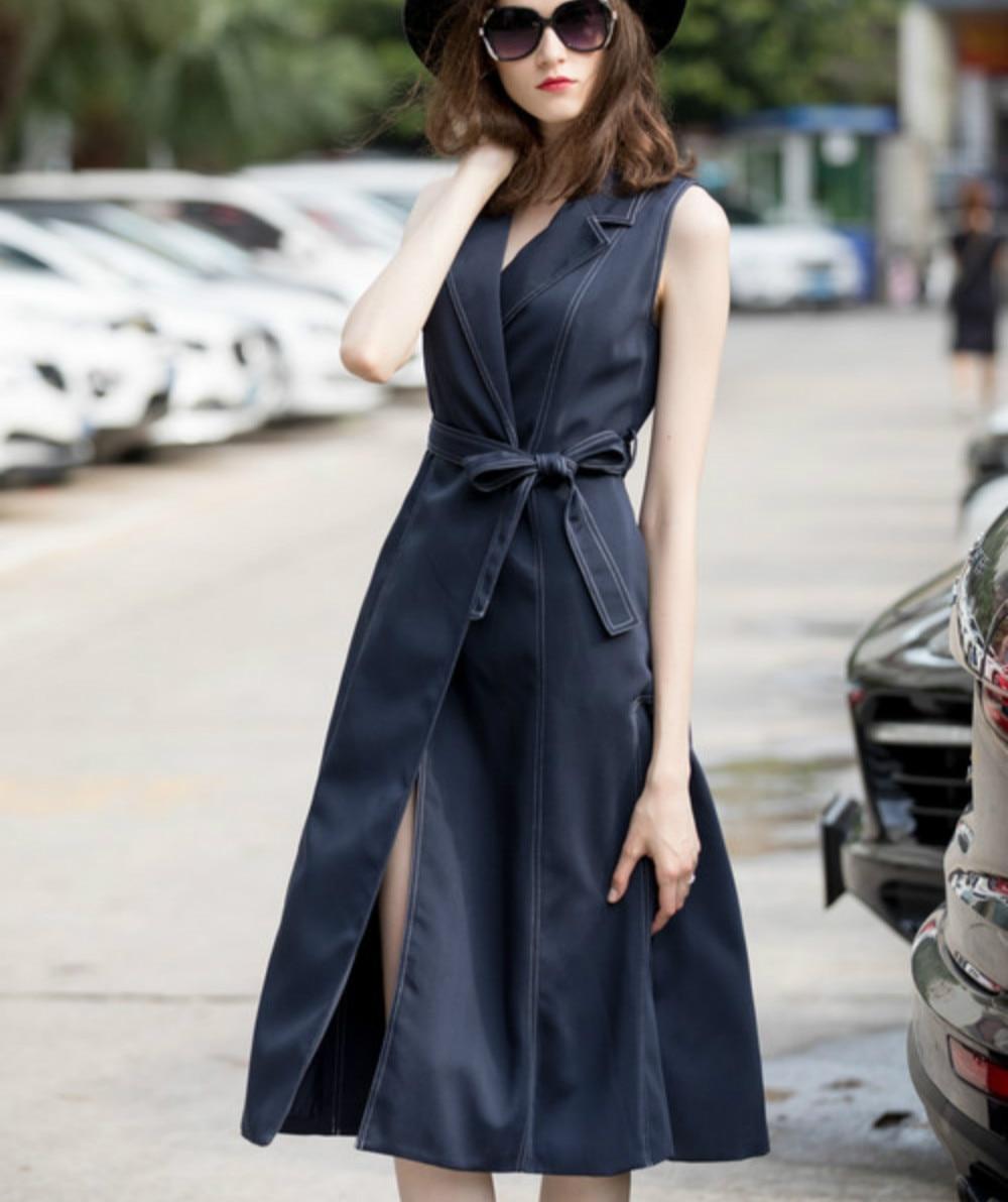 British Classical Women s Dress Maxi Long 2018 Autumn Sexy Sleeveless Split Female Boutique Sashes Dress