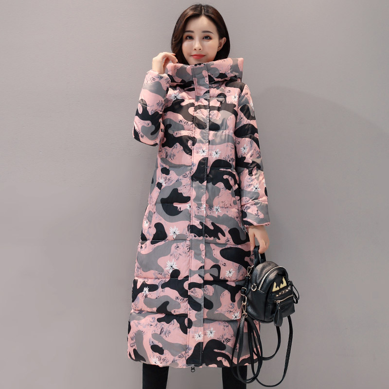 Stand Collar 2019 High Quality Hooded Women Winter Jacket Printing Women's Long Coat   Parka   Warm Outwear Female Chaqueta Mujer