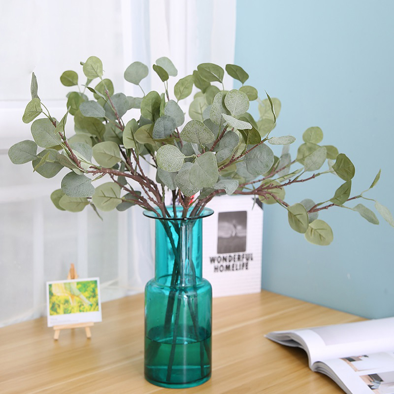 Eucalyptus tree branches Artificial plastic plants Flower arranging DIY flores autumn home wedding party decoration leaf wreaths