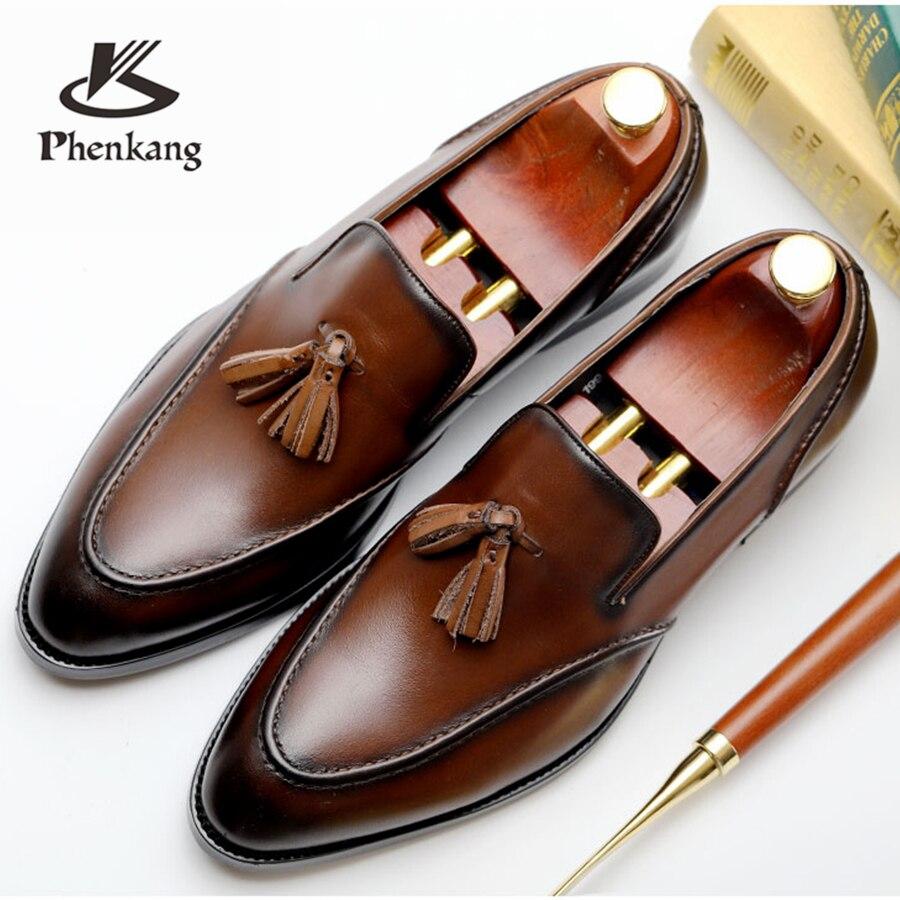 Мужские модельные туфли из натуральной кожи в деловом стиле, мужские брендовые черные свадебные туфли из натуральной кожи с кисточками ...