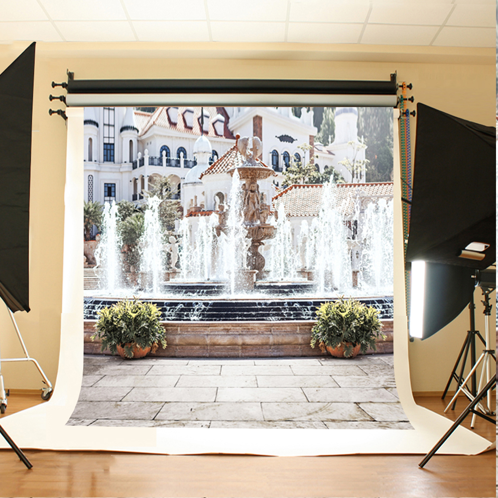 Wedding Photography Backdrops Tree House Fountain Background for Photo Gray Stone Brick Floor Background for Photography Studio