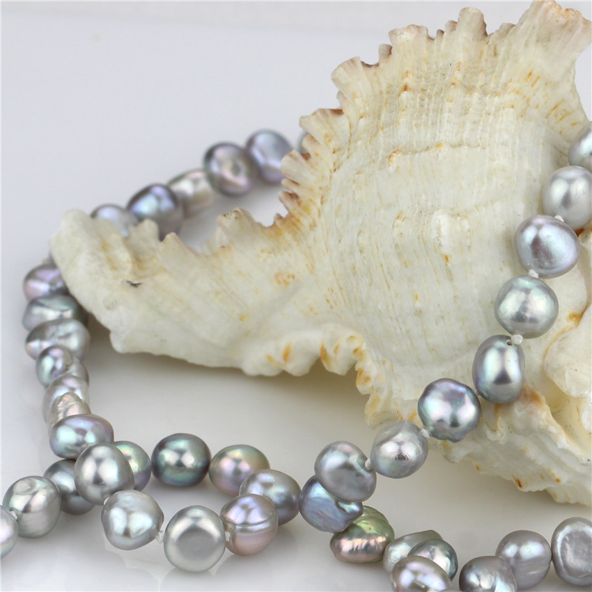120cm grey color long chain freshwater pearl necklace handmade nugget baroque shape real natural genuine pearl necklace in Necklaces from Jewelry Accessories