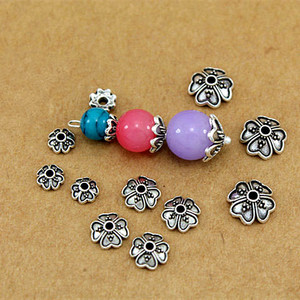 30Pcs/Pack Tibetan Style Alloy Flower Petal Bead Caps Beads Spacers For Jewelry Makings