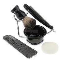 6 In 1 Professional Travel Set Salon Barber Shaving Brush Safety Straight Razor Tools Shave Bowl Mug Soap Kit for Men