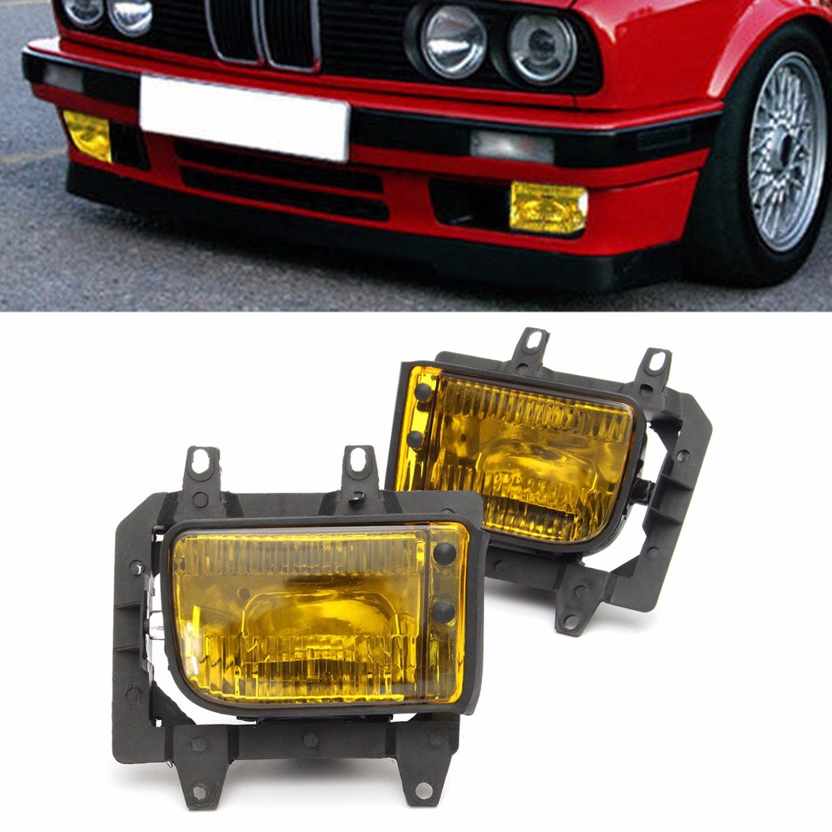 1 Pair Front Right Left Bumper Fog Lights Yellow Lens For BMW /E30 3-Series /Sedan 1985 - 1993 Random Color epman universal black 3 76mm polished aluminum fmic intercooler piping kit diy pipe l 450mm for bmw e30 3 series ep lgtj76 450