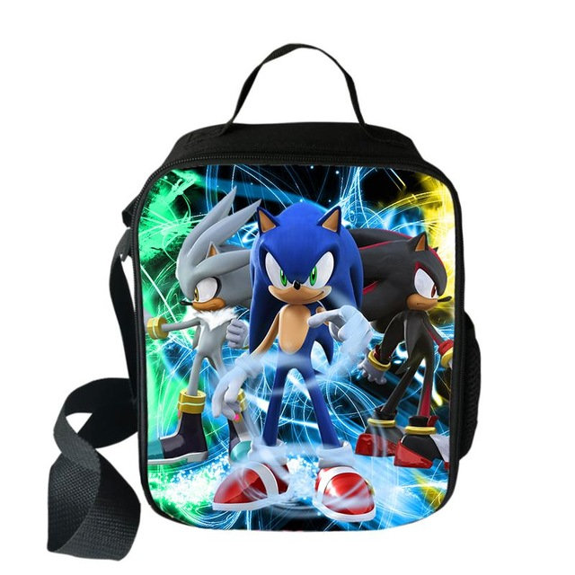 Fashion Super Mario Bros Sonic Boom Hedgehogs Portable Lunch Bags Student Food Storage Bags Kids Picnic Travel Lunch Tote Bags