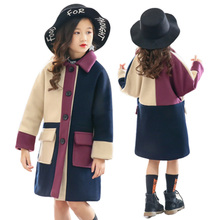 Girls Woolen Coat Jacket Autumn and Winter 2019 New Korean Version of The Big Girl Long Section Plus Velvet Thicken Coats
