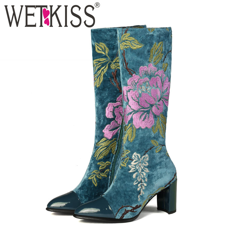 WETKISS Knee High Boots Women Zip Pointed Toe Footwear Ethnic Embroider Boots Female Thick High Heels Shoes Woman 2019 Spring