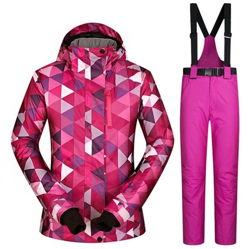 Hiver En Plein Air Sport Snowboard veste Ski Costume Femmes Étanche 10000mm Femelle Ski Veste de Neige de Pantalon Femmes Pantalon