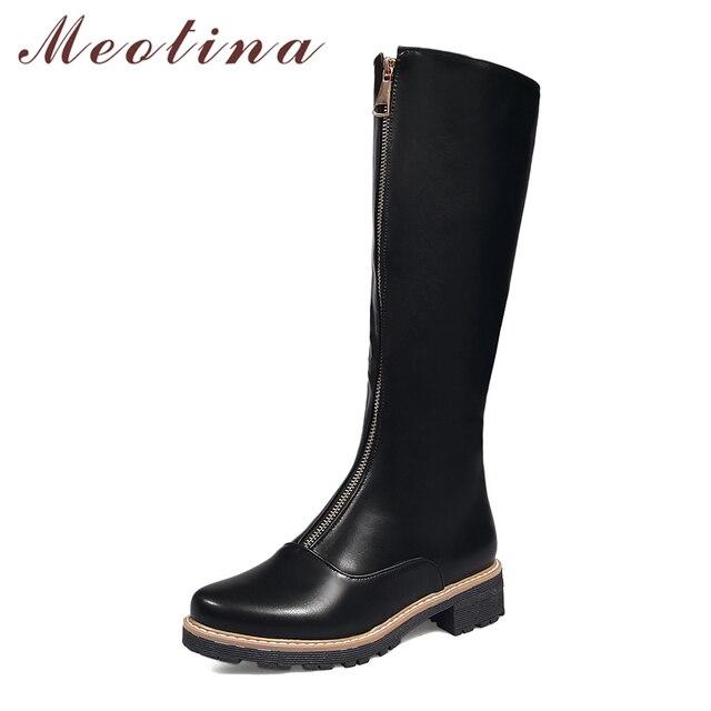 Meotina Zipper Billig Winter Stiefel Kniehohe Frauen Front 8Pn0kOXw