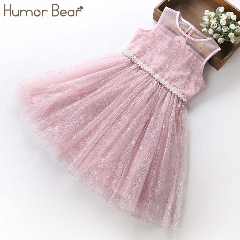 Humor Bear princess Dress 2018 NEW Baby Girls Dress Party Flower Girl Christening Wedding Party Pageant Dress kids clothing music note party swing dress