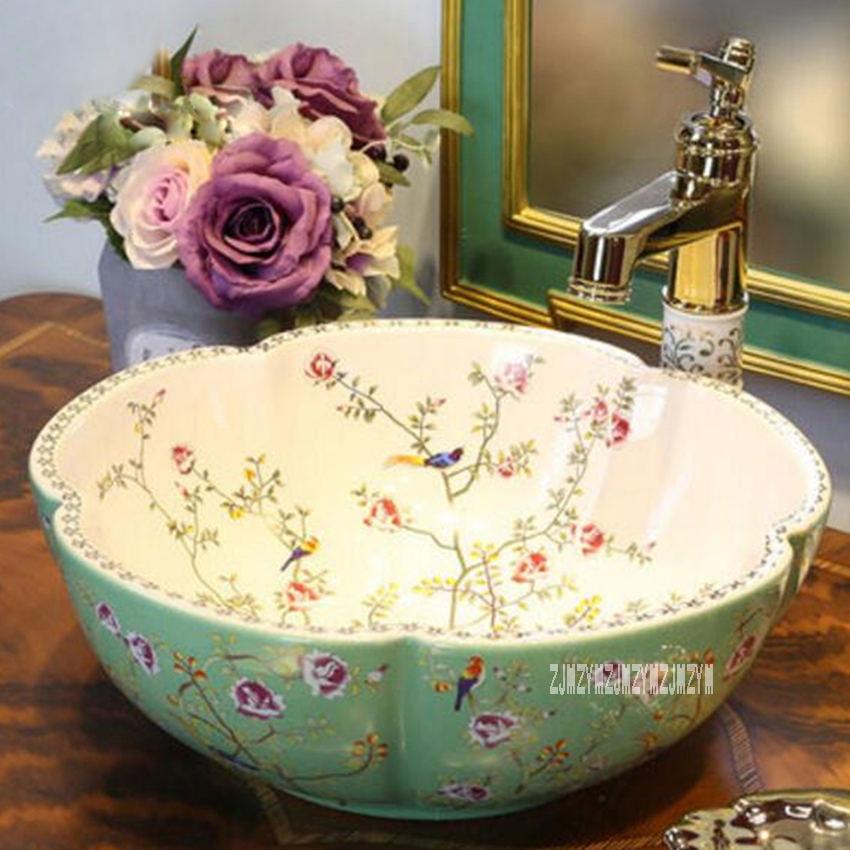 Европейский стиль, домашняя керамическая Столешница, умывальник, высокое качество, домашний умывальник, художественная ванная раковина, керамическая раковина - Цвет: green