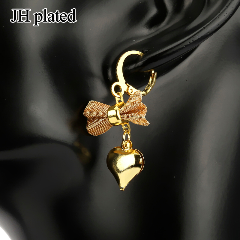 JHplated Ethiopia African jewelery Cute Fashion Lady Gold Color Earrings bowknot love heart for women wedding gift