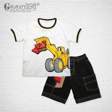 Gooulfi Children's Sets 2017 Two Pieces Print Kids Boys Clothes Summer Baby Pullover Sport Cotton T Shirt Boy Shorts Clothes